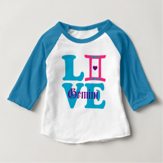 ♊★😍I Love Gemini-Best-Zodiac Sign Raglan Baseball Baby T-Shirt