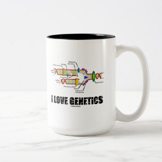 I Love Genetics (DNA Replication) Two-Tone Mug