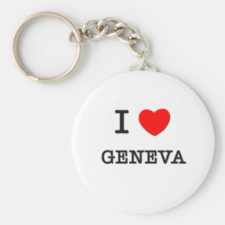 I Love Geneva Basic Round Button Key Ring