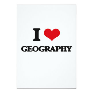 "I love Geography 3.5"" X 5"" Invitation Card"