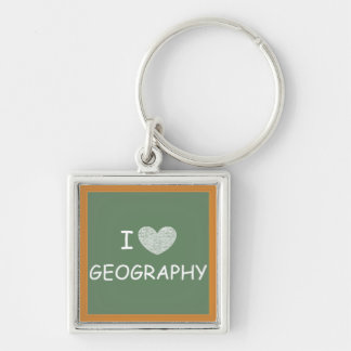 I Love Geography Silver-Colored Square Key Ring