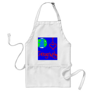 i love geography tie adult apron