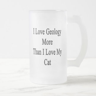 I Love Geology More Than I Love My Cat Frosted Glass Mug