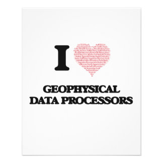 I love Geophysical Data Processors (Heart made fro 11.5 Cm X 14 Cm Flyer