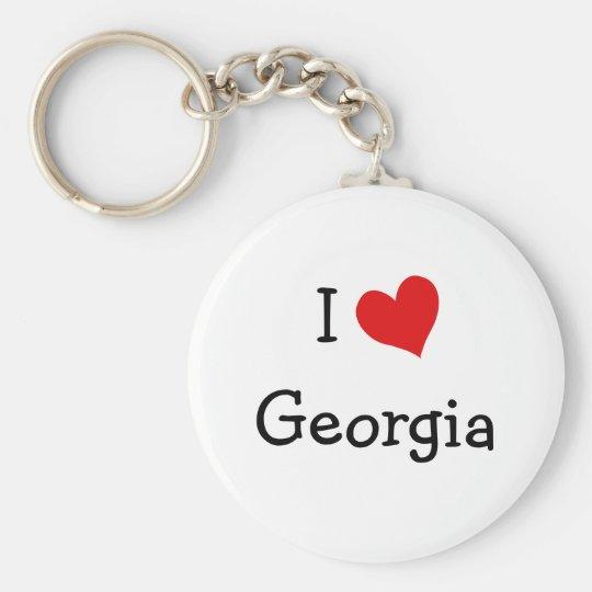 I Love Georgia Basic Round Button Key Ring