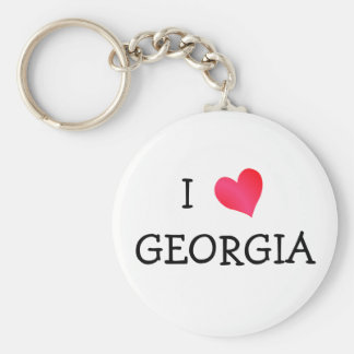 I Love Georgia Basic Round Button Key Ring