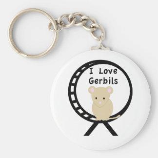 I Love Gerbils Basic Round Button Key Ring