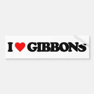I LOVE GIBBONS BUMPER STICKER