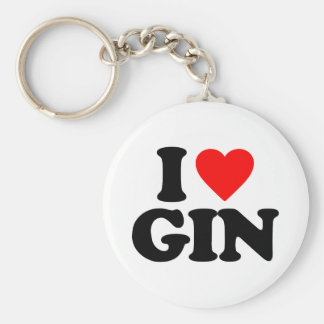I LOVE GIN BASIC ROUND BUTTON KEY RING