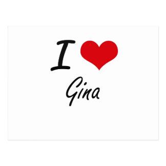 I Love Gina artistic design Postcard