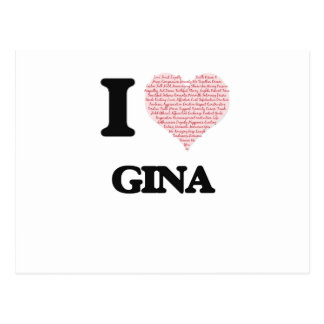 I love Gina (heart made from words) design Postcard