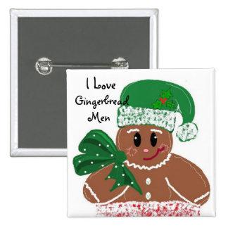 I Love Gingerbread Men 15 Cm Square Badge