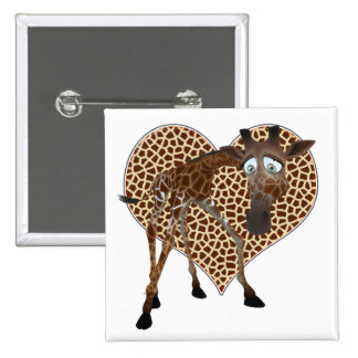 I Love Giraffes 15 Cm Square Badge