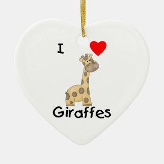 I Love Giraffes (2) Christmas Ornament