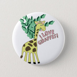 I Love Giraffes! 6 Cm Round Badge