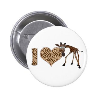 I Love Giraffes 6 Cm Round Badge
