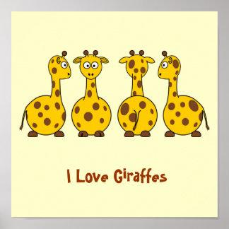 I Love Giraffes Cartoon Animals Posters