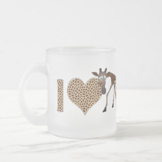 I Love Giraffes Frosted Glass Coffee Mug