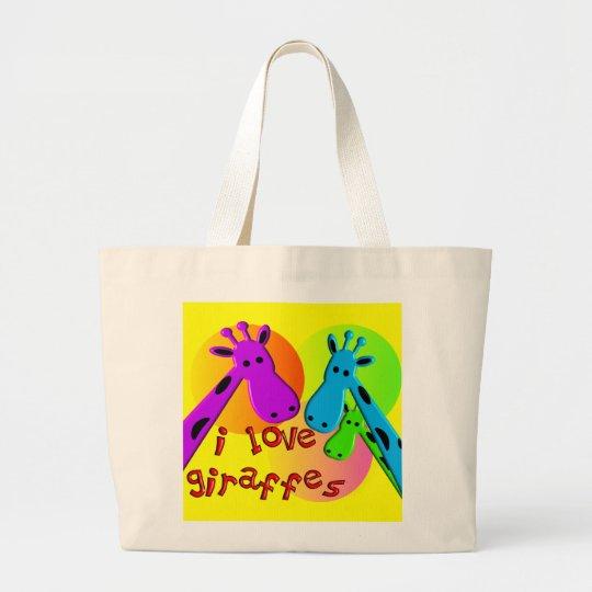 I Love Giraffes gifts Large Tote Bag