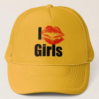 I love Girls - Kiss, Smooch, Love, Heart Trucker Hat