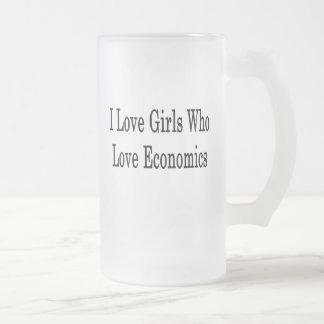 I Love Girls Who Love Economics Frosted Glass Mug
