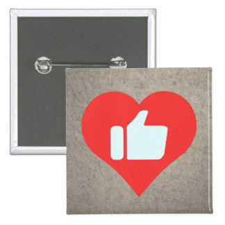 I Love Giving Thumbs Up Modern 15 Cm Square Badge