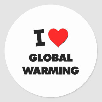 I Love Global Warming Stickers