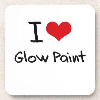 I Love Glow Paint Drink Coasters