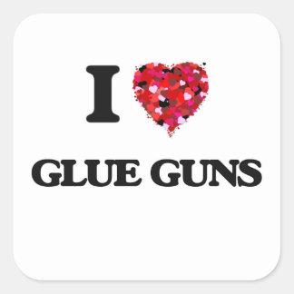 I Love Glue Guns Square Sticker