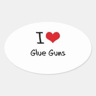 I Love Glue Guns Oval Sticker