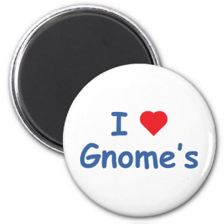 I Love Gnome's 6 Cm Round Magnet