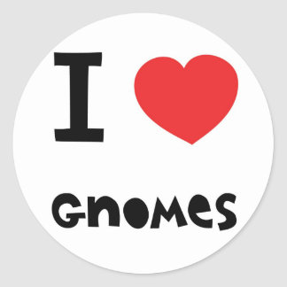 I love gnomes classic round sticker