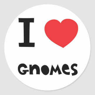 I love gnomes classic round sticker