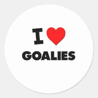 I Love Goalies Round Sticker