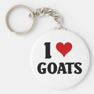 I love goats basic round button key ring