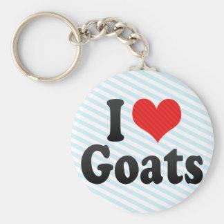 I Love Goats Basic Round Button Key Ring