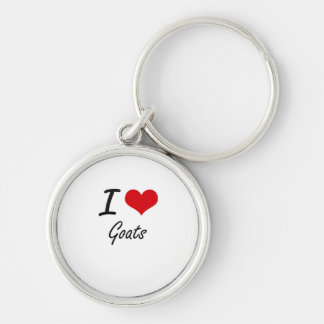 I love Goats Silver-Colored Round Key Ring