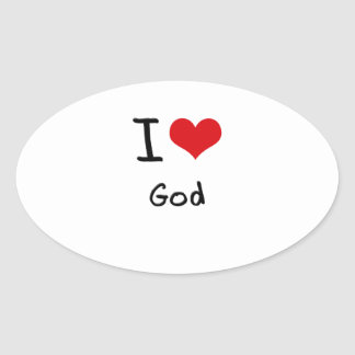 I Love God Oval Stickers