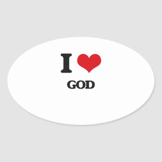 I love God Oval Sticker