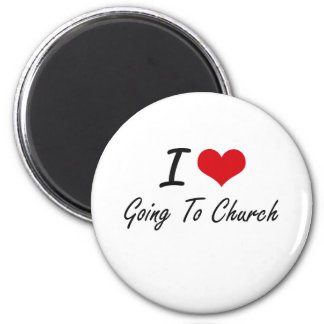 I love Going To Church 6 Cm Round Magnet