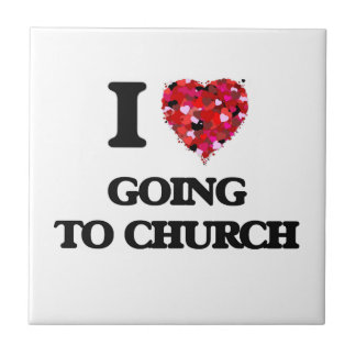 I love Going To Church Small Square Tile