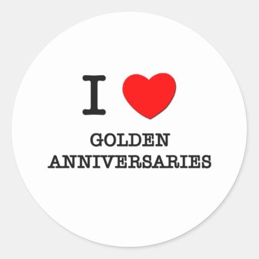 I Love Golden Anniversaries Sticker