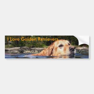 I Love Golden Retrievers - Bumper Sticker