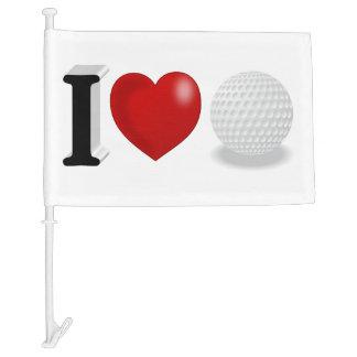 I Love Golf 3D Car Flag