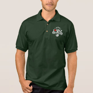 I Love Golf, Crossed Golf Clubs and  Golf Ball Polo Shirt