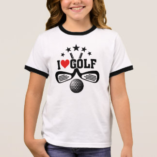 I Love Golf, Crossed Golf Clubs and  Golf Ball Ringer T-Shirt