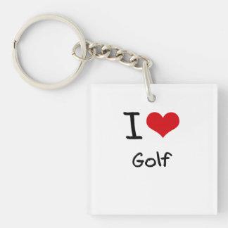 I Love Golf Double-Sided Square Acrylic Key Ring