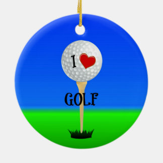 I Love Golf, Golf Ball on Tee Christmas Ornament