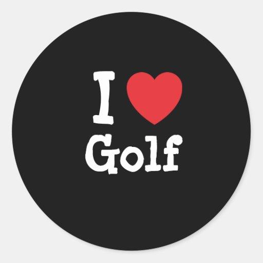 I love Golf heart custom personalized Round Stickers