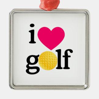 I love golf Silver-Colored square decoration